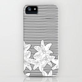 line art flowers on stripes iPhone Case