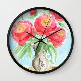 Peonies in Vase Wall Clock