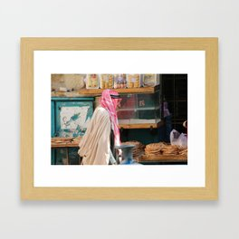 Old Arab man heading to the Manger square, Bethlehem Framed Art Print