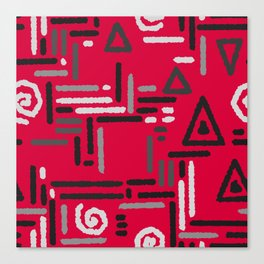 Geometric red gray pattern Canvas Print
