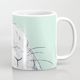 Curious Holland Lop Bunny - Light Blue Coffee Mug