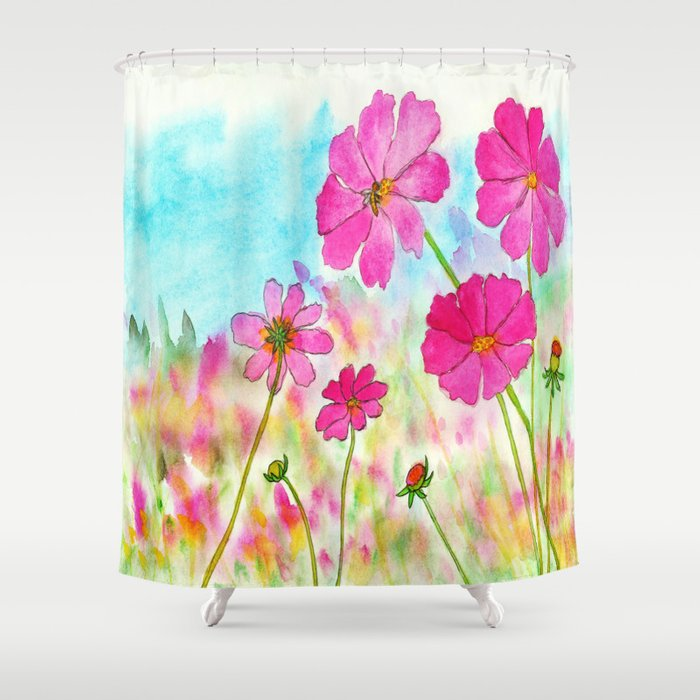 Symphony In Pink Watercolor Wildflowers Shower Curtain