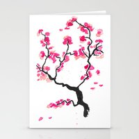 cherry blossoms Stationery Cards featuring Cherry Blossoms by Amaya