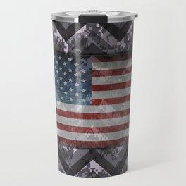 Periwinkle Purple Digital Camo Chevrons with American Flag Travel Mug