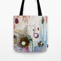 moon phase Tote Bags featuring Pisces Moon, Phase 1 by Ysabel Price