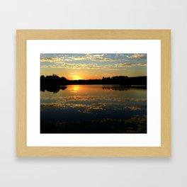 Beautiful Orange Sunset Over Lake Framed Art Print