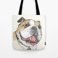 bulldog Tote Bags featuring bulldog  by Laura Graves