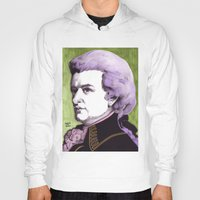 mozart Hoodies featuring Wolfgang Amadeus Mozart by Joseph Walrave