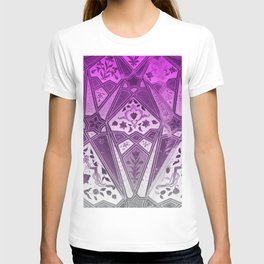 Indian wall Painting Mosaic Flowers - pink T-shirt