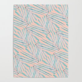 Palm Leaves Coral Poster