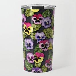Purple, Red & Yellow Pansies With Green Leaves - Floral/Botanical Pattern Travel Mug