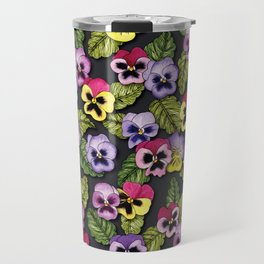 Purple, Red & Yellow Pansies With Green Leaves - Floral/Botanical Pattern Travel Mug