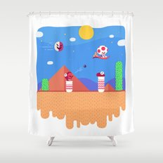 Tiny Worlds - Super Mario Bros. 2: Toad Shower Curtain