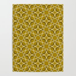 Moroccan pattern, Morocco. Patchwork mosaic with traditional folk geometric ornament black gold. Poster