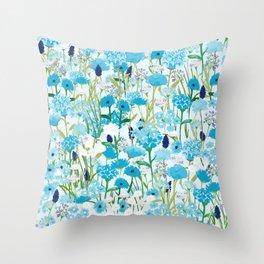 Blue wildflowers Throw Pillow