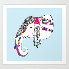 Indian Elephant Decorated with Art and Jewelry/Indian Elephant Art Art Print