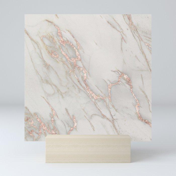 Marble Rose Gold Blush Pink Metallic by Nature Magick Mini Art Print