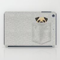 pocket iPad Cases featuring Pocket Pug by Anne Was Here