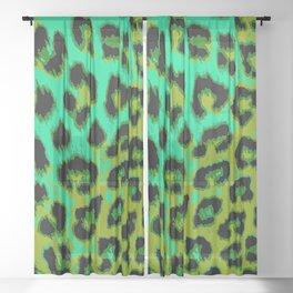 Aqua and Apple Green Leopard Spots Sheer Curtain