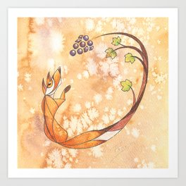 Aesop's Fables - The Fox and the Grapes Art Print