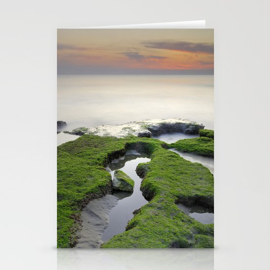 Green, white a red coast Stationery Cards