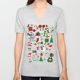Happy Christmas Doodles Unisex V-Neck