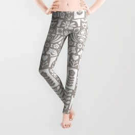 Swedish Folk Art - Warm Gray Leggings