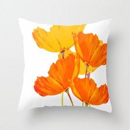Orange and Yellow Poppies On A White Background #decor #society6 #buyart Throw Pillow
