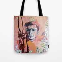 james franco Tote Bags featuring James Franco by Katarzyna Typek