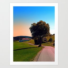 A tree, a road and summertime Art Print