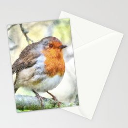 Christmas Robin Redbreast Winter Watercolor Stationery Cards