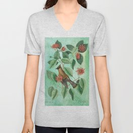 Bohemian Waxwing with Carolina Allspice, Antique Natural History Collage Unisex V-Neck