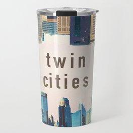 Twin Cities | Minneapolis and Saint Paul Minnesota Skylines | City Collage Travel Mug
