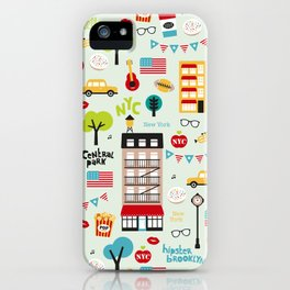 Fun New York City Manhattan travel icons life hipster pattern iPhone Case