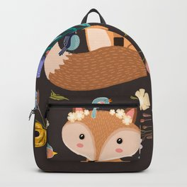 Little Princess Fox With Friends And Foliage Backpack