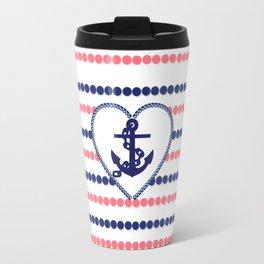 Nautical blue heart anchor coral modern polka dots stripes Travel Mug