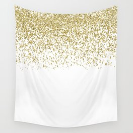 Sparkling gold glitter confetti on simple white background - Pattern Wall Tapestry