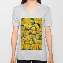 GOLDEN POPPIES & YELLOW GARDEN FLOWERS Unisex V-Neck