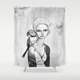 melancholy girl with parrot and feathers Shower Curtain