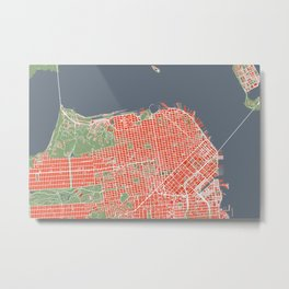 San Francisco city map classic Metal Print