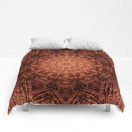 Knit pattern kaleidoscope copper Comforters