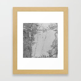 Miami Florida vintage map year 1950, grey usa maps Framed Art Print