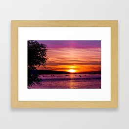 Sunset Over the Beach  Framed Art Print