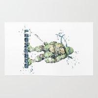 teenage mutant ninja turtles Area & Throw Rugs featuring Leonardo Teenage Mutant Ninja Turtles by Carma Zoe