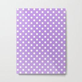 Small Polka Dots - White on Light Violet Metal Print