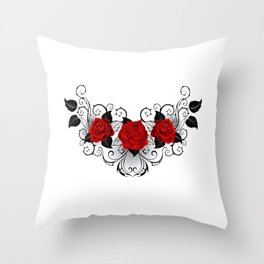 Symmetrical Tattoo of Red Roses Throw Pillow