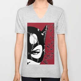 Red Catwoman Unisex V-Neck