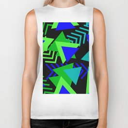 Abstract Triangles in Lime, Blue and Black Biker Tank