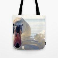 swan queen Tote Bags featuring Swan by Enkel Dika