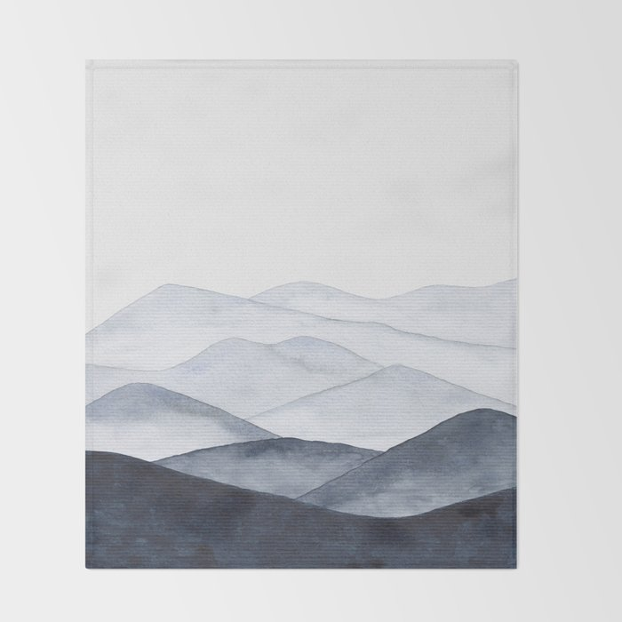 Watercolor Mountains Throw Blanket